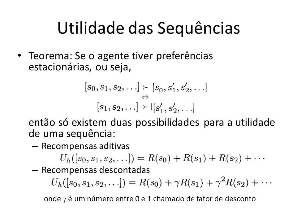 Utilidade das Sequências Teorema: Se o agente tiver preferências estacionárias, ou seja, então só existem duas possibilidades para a utilidade de uma