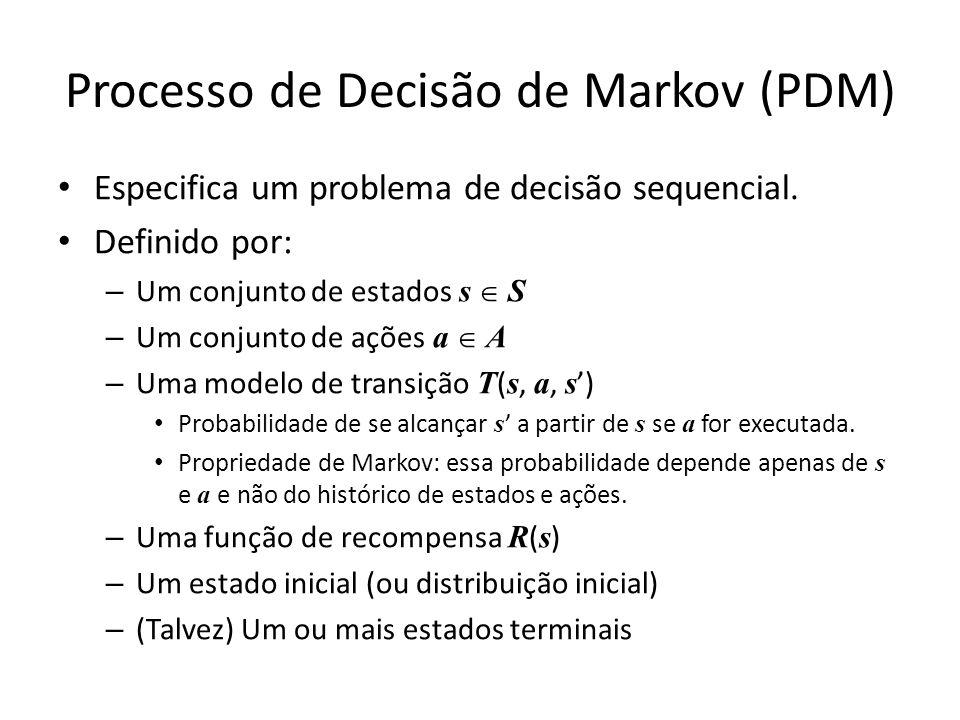 Processo de Decisão de Markov (PDM) Especifica um problema de decisão sequencial. Definido por: – Um conjunto de estados s S – Um conjunto de ações a