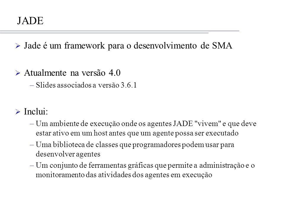 JADE Jade é um framework para o desenvolvimento de SMA Atualmente na versão 4.0 –Slides associados a versão 3.6.1 Inclui: –Um ambiente de execução ond
