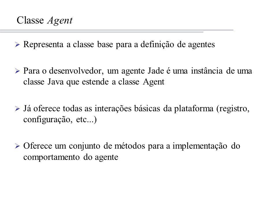 Classe Agent Representa a classe base para a definição de agentes Para o desenvolvedor, um agente Jade é uma instância de uma classe Java que estende