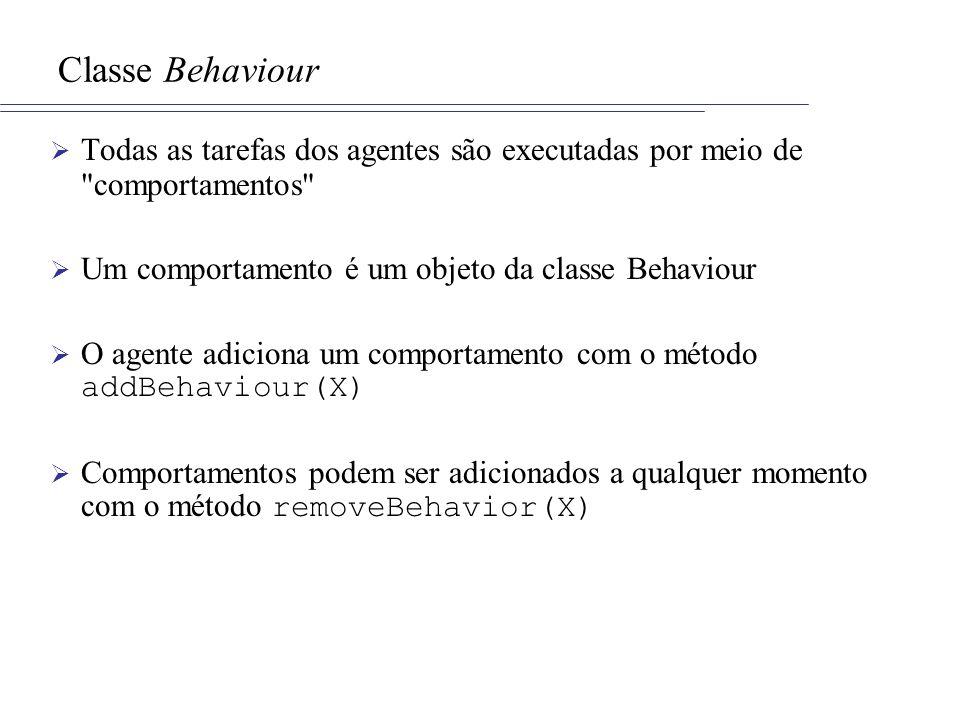 Classe Behaviour Todas as tarefas dos agentes são executadas por meio de