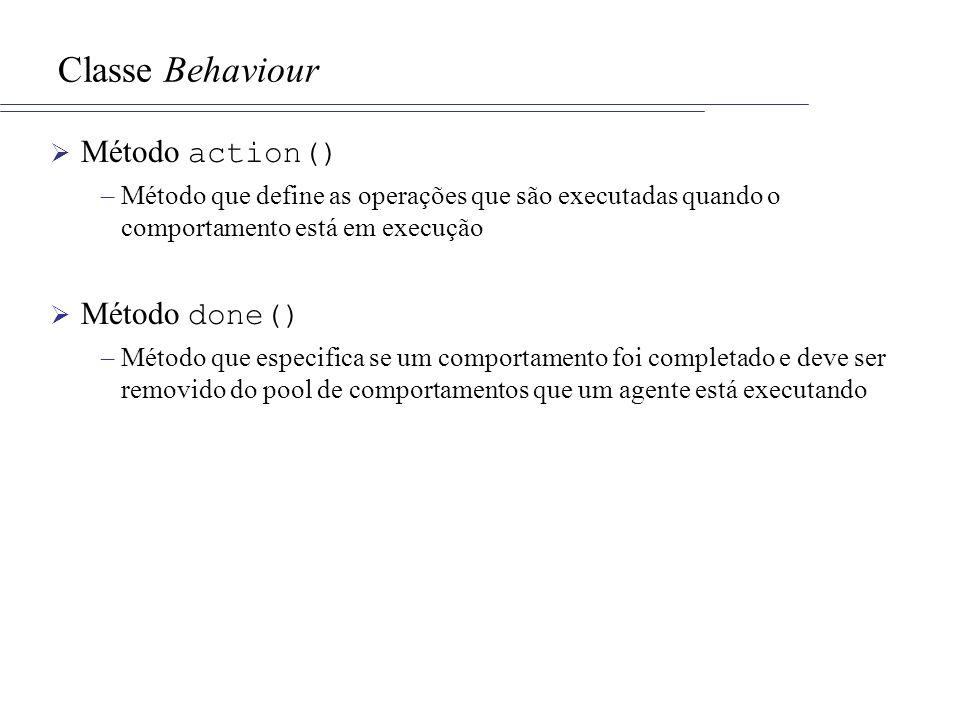 Classe Behaviour Método action() –Método que define as operações que são executadas quando o comportamento está em execução Método done() –Método que