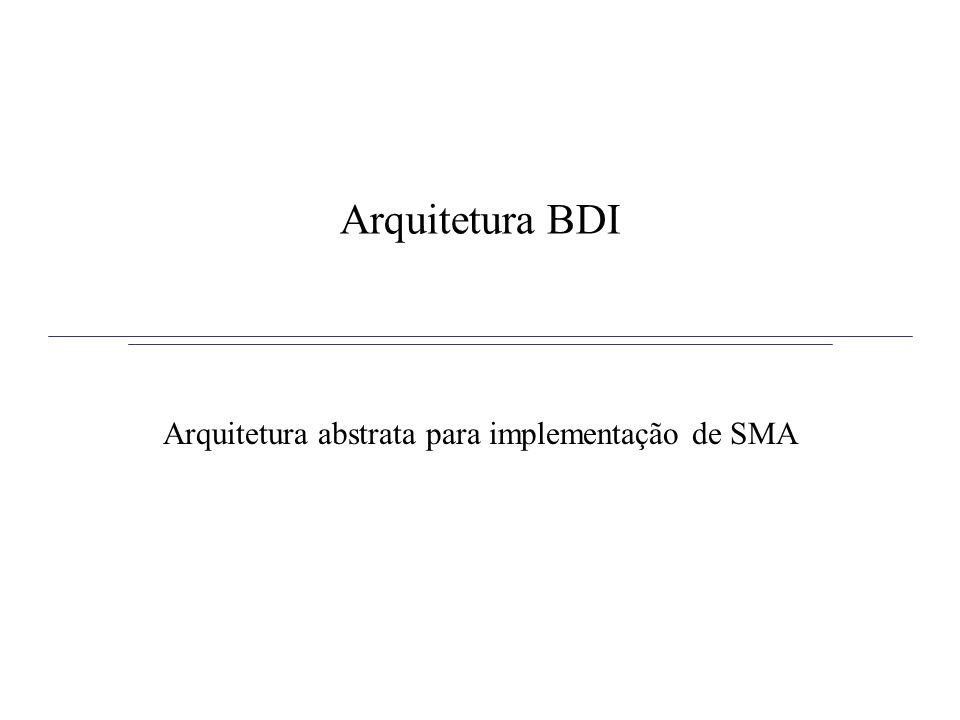 Arquitetura BDI Modelo proposto por Bratman em 1987 Modelo consiste de: –Beliefs: crenças –Desire: desejos ou objetivos –Intetions: intenções ou planos Arquitetura BDI proposta por Rao e Georgeff em 1995 –É uma arquitetura abstrata