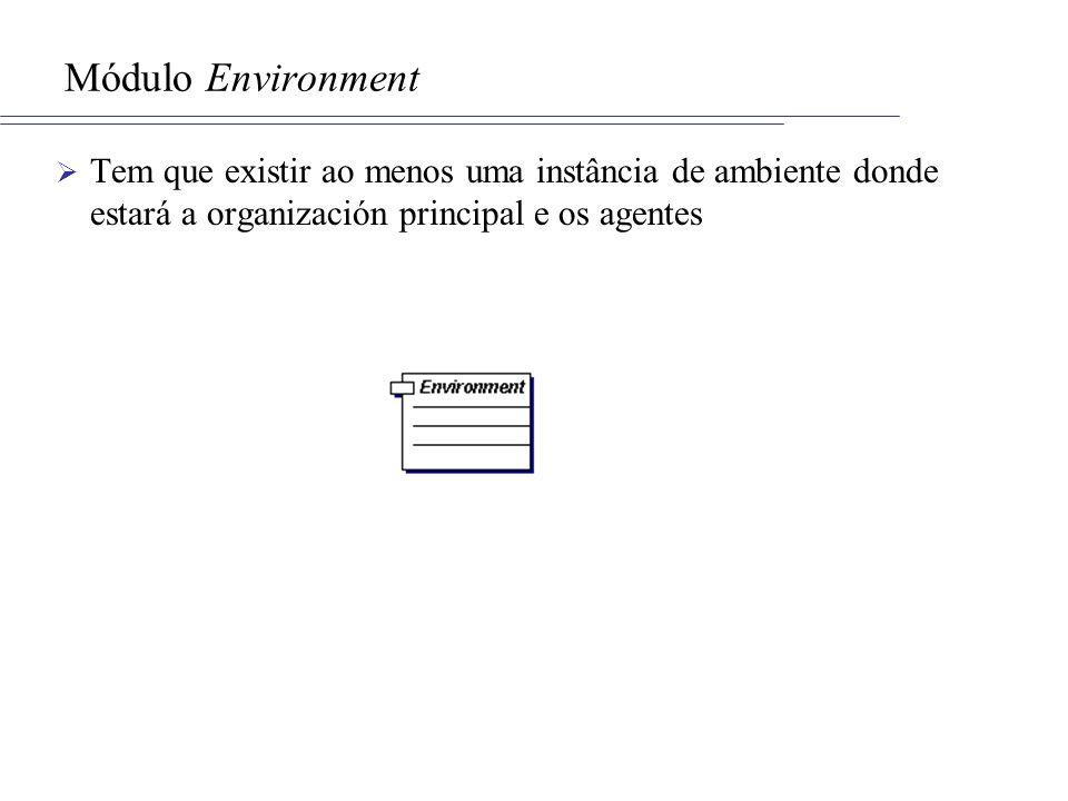 Módulo Environment Tem que existir ao menos uma instância de ambiente donde estará a organización principal e os agentes