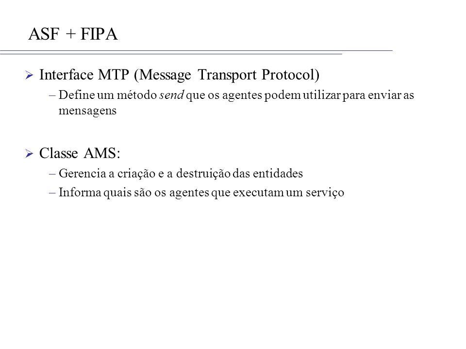 ASF + FIPA Interface MTP (Message Transport Protocol) –Define um método send que os agentes podem utilizar para enviar as mensagens Classe AMS: –Geren