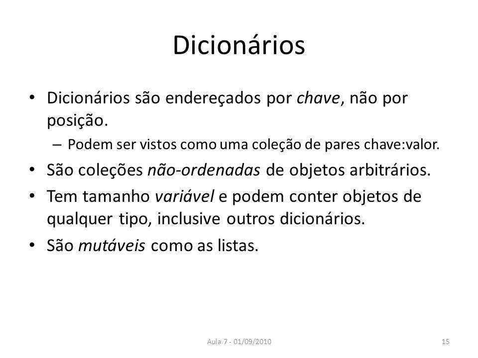 Dicionários Dicionários são endereçados por chave, não por posição. – Podem ser vistos como uma coleção de pares chave:valor. São coleções não-ordenad