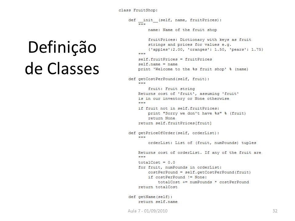 Definição de Classes Aula 7 - 01/09/201032