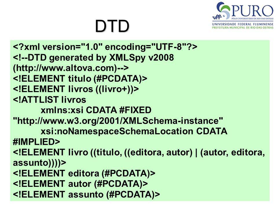 DTD <!ATTLIST livros xmlns:xsi CDATA #FIXED