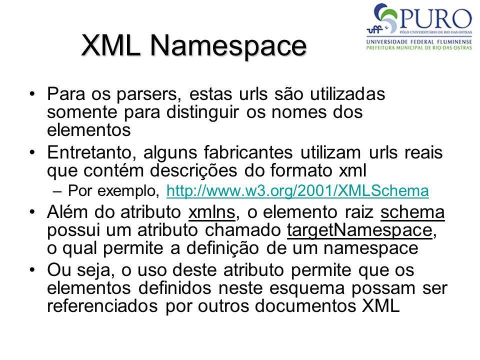 XML Namespace Para os parsers, estas urls são utilizadas somente para distinguir os nomes dos elementos Entretanto, alguns fabricantes utilizam urls r