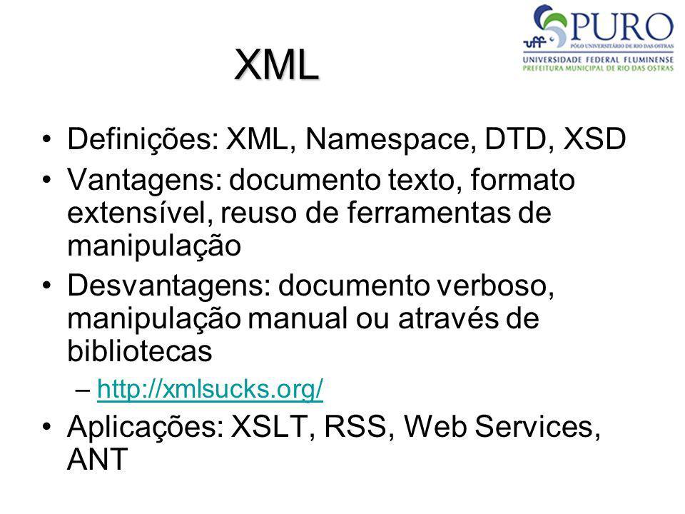 XML Definições: XML, Namespace, DTD, XSD Vantagens: documento texto, formato extensível, reuso de ferramentas de manipulação Desvantagens: documento v