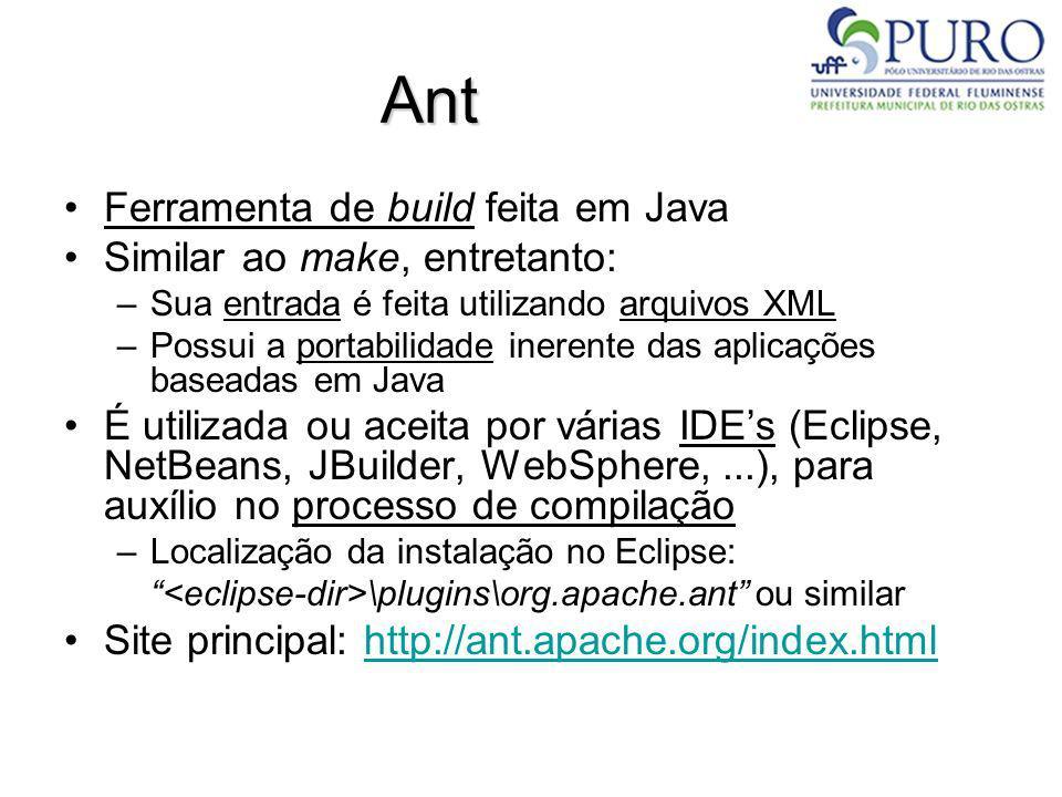 Ant Ferramenta de build feita em Java Similar ao make, entretanto: –Sua entrada é feita utilizando arquivos XML –Possui a portabilidade inerente das a