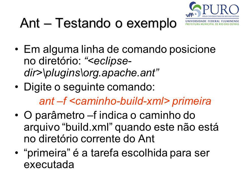 Ant – Testando o exemplo Em alguma linha de comando posicione no diretório: \plugins\org.apache.ant Digite o seguinte comando: ant –f primeira O parâm