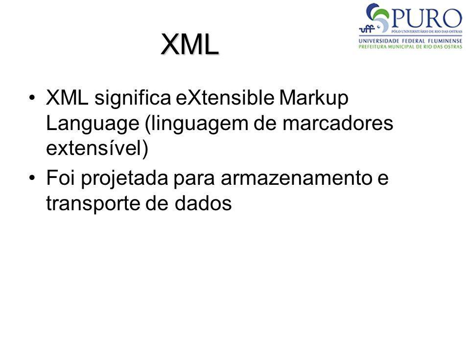 XML XML significa eXtensible Markup Language (linguagem de marcadores extensível) Foi projetada para armazenamento e transporte de dados