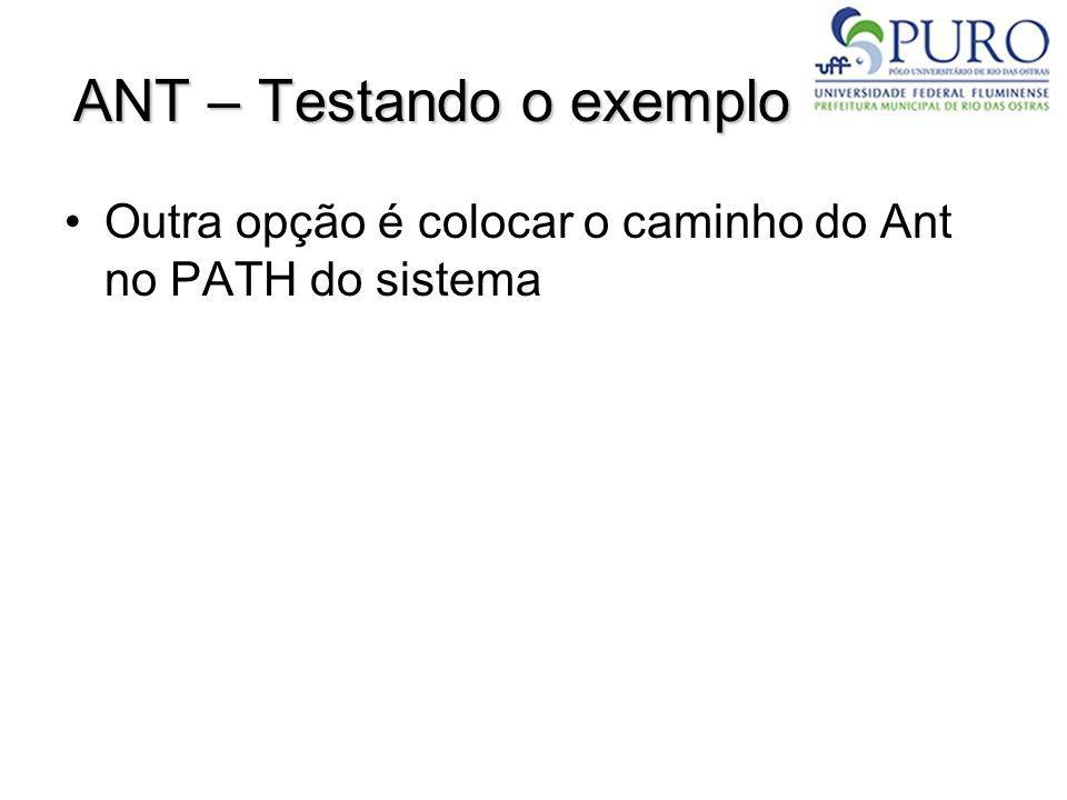 ANT – Testando o exemplo Outra opção é colocar o caminho do Ant no PATH do sistema
