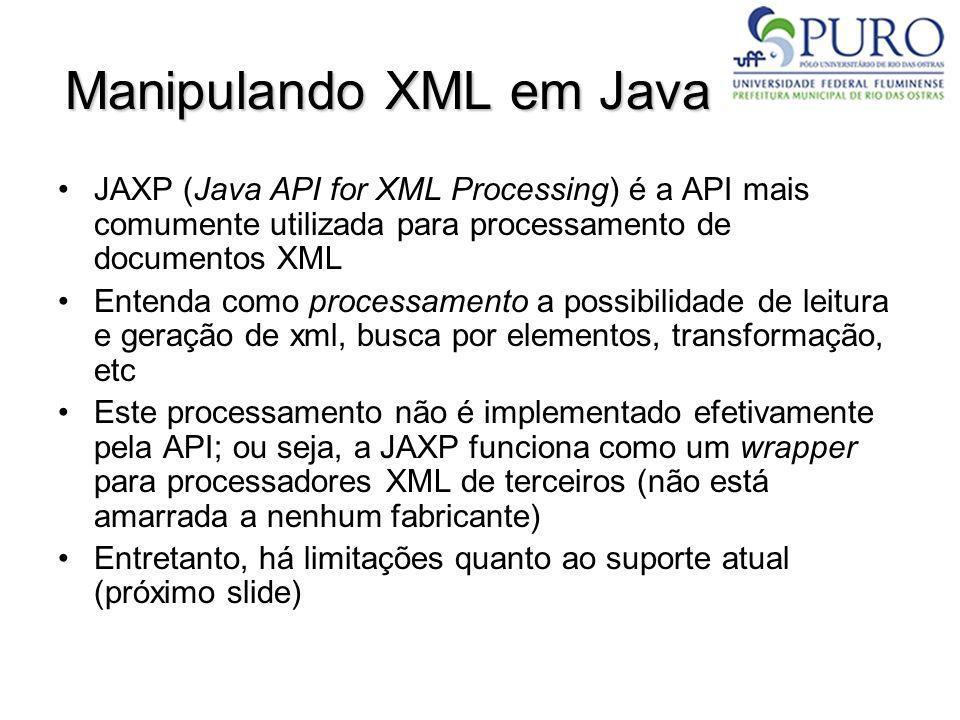Manipulando XML em Java JAXP (Java API for XML Processing) é a API mais comumente utilizada para processamento de documentos XML Entenda como processa