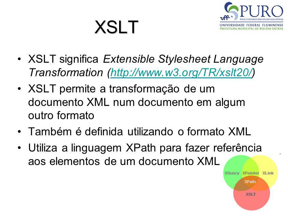 XSLT XSLT significa Extensible Stylesheet Language Transformation (http://www.w3.org/TR/xslt20/)http://www.w3.org/TR/xslt20/ XSLT permite a transforma
