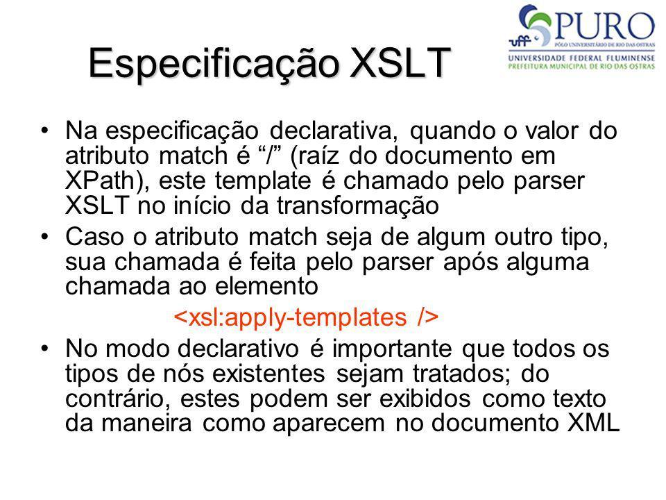 Especificação XSLT Na especificação declarativa, quando o valor do atributo match é / (raíz do documento em XPath), este template é chamado pelo parse