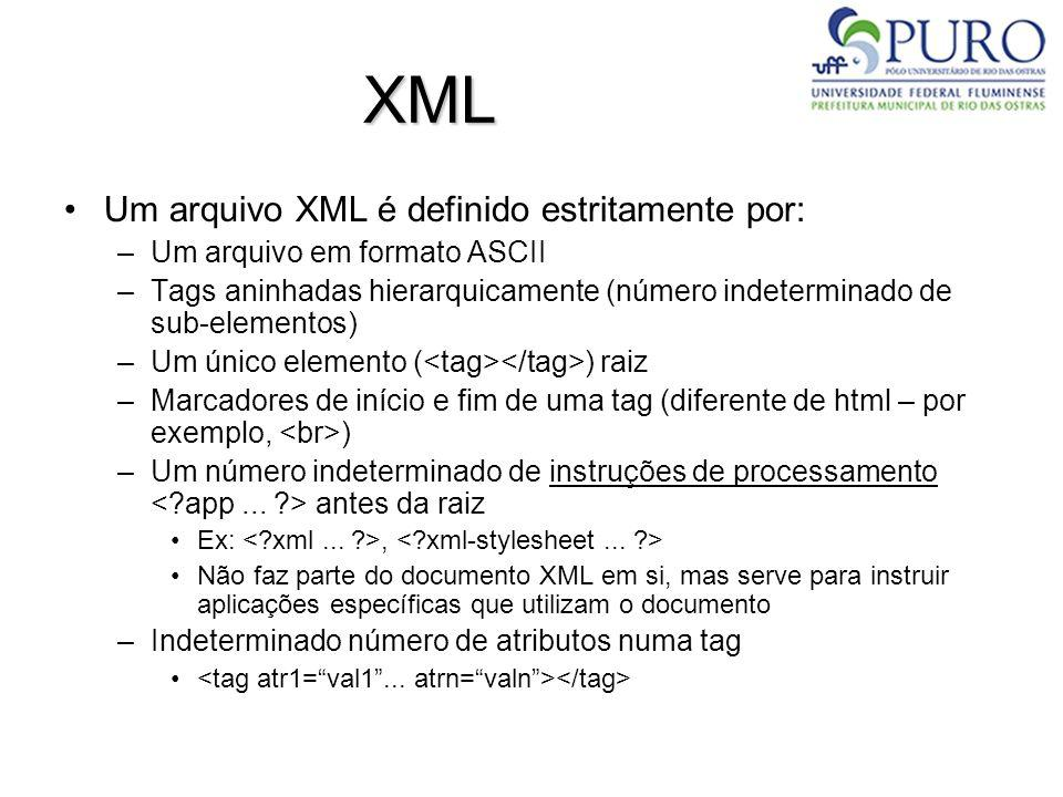 XML Conteúdos de elementos (tags), valores de atributos, podem ter qualquer valor, exceto alguns reservados à sintaxe XML: –Por exemplo:, Neste caso, há 2 possibilidades: –Substituirmos as ocorrências por entidades < é o caracter < > é o caracter > &apos; é o caracter é o caracter & é o caracter & –Inserir o texto em seções CDATA (trechos que não são processados pelo parser XML) <![CDATA[...