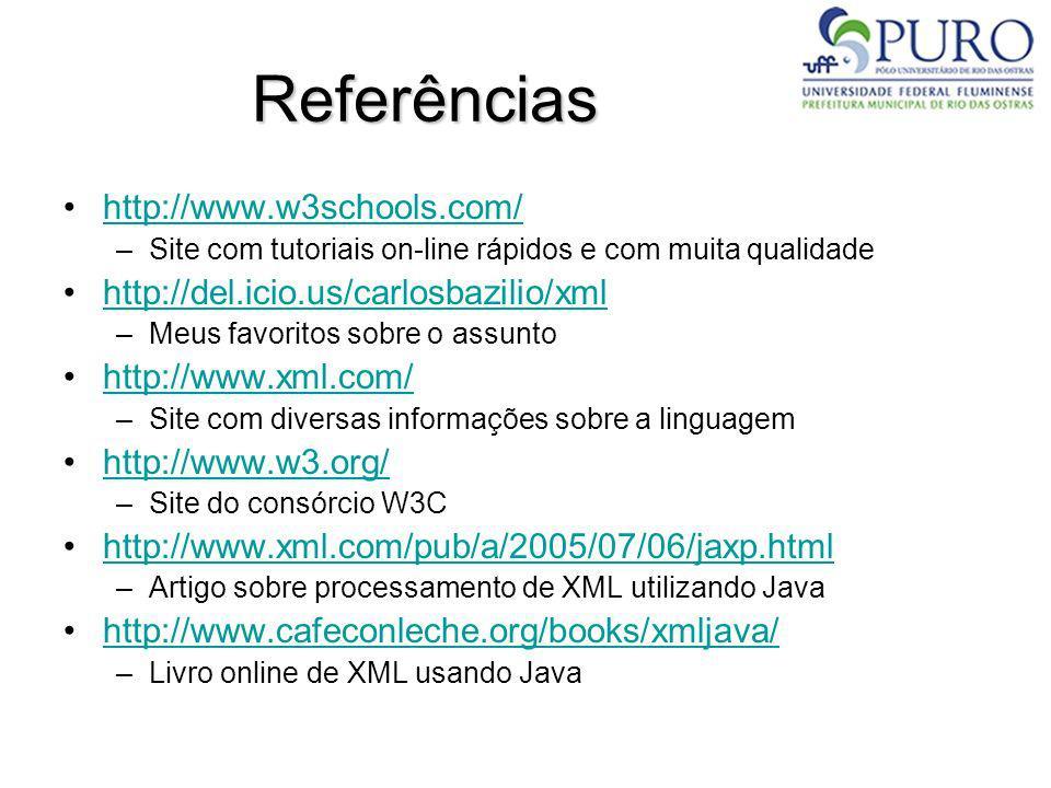 Referências http://www.w3schools.com/ –Site com tutoriais on-line rápidos e com muita qualidade http://del.icio.us/carlosbazilio/xml –Meus favoritos s