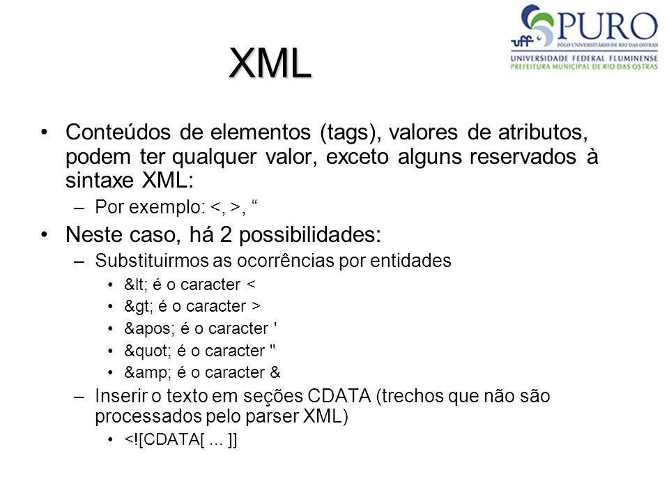 Outras APIs para Uso de XML em Java JDOM (http://www.jdom.org/)http://www.jdom.org/ dom4j (http://www.dom4j.org/)http://www.dom4j.org/ XOM (http://www.xom.nu/)http://www.xom.nu/ XStream (http://xstream.codehaus.org/)http://xstream.codehaus.org/ –Difere dos anteriores por permitir a geração de documentos XML à partir de estruturas de classe e vice-versa