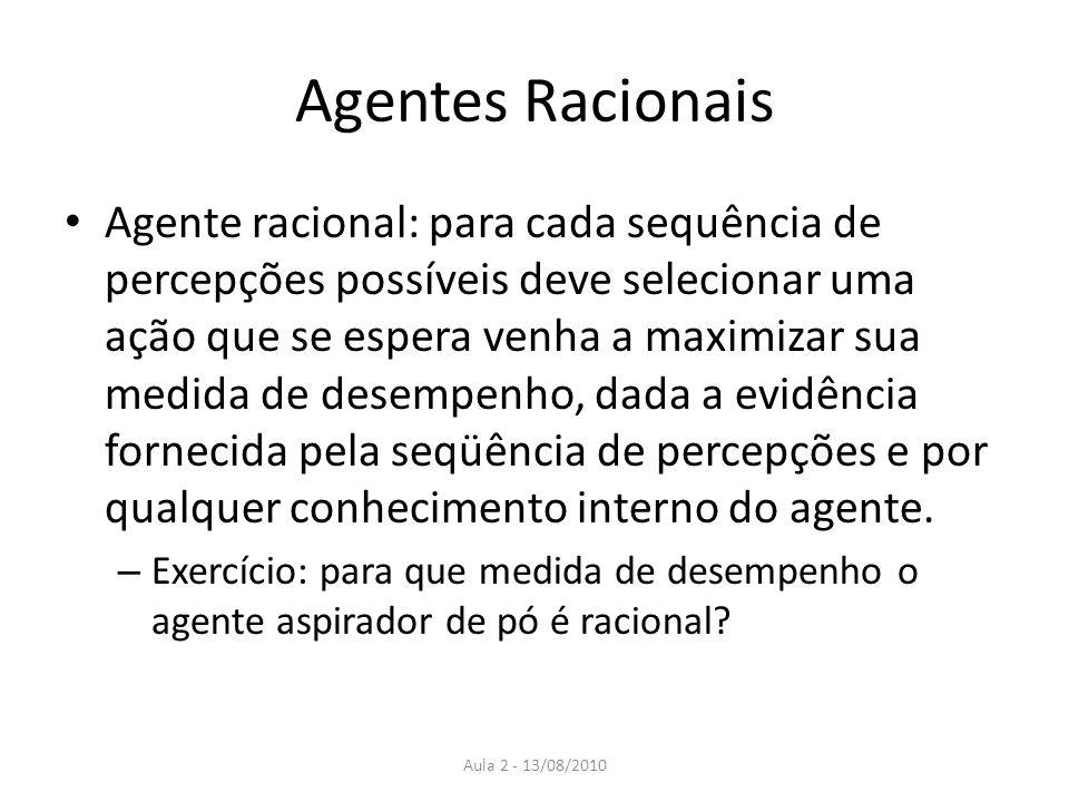 Agentes Racionais Agente racional: para cada sequência de percepções possíveis deve selecionar uma ação que se espera venha a maximizar sua medida de