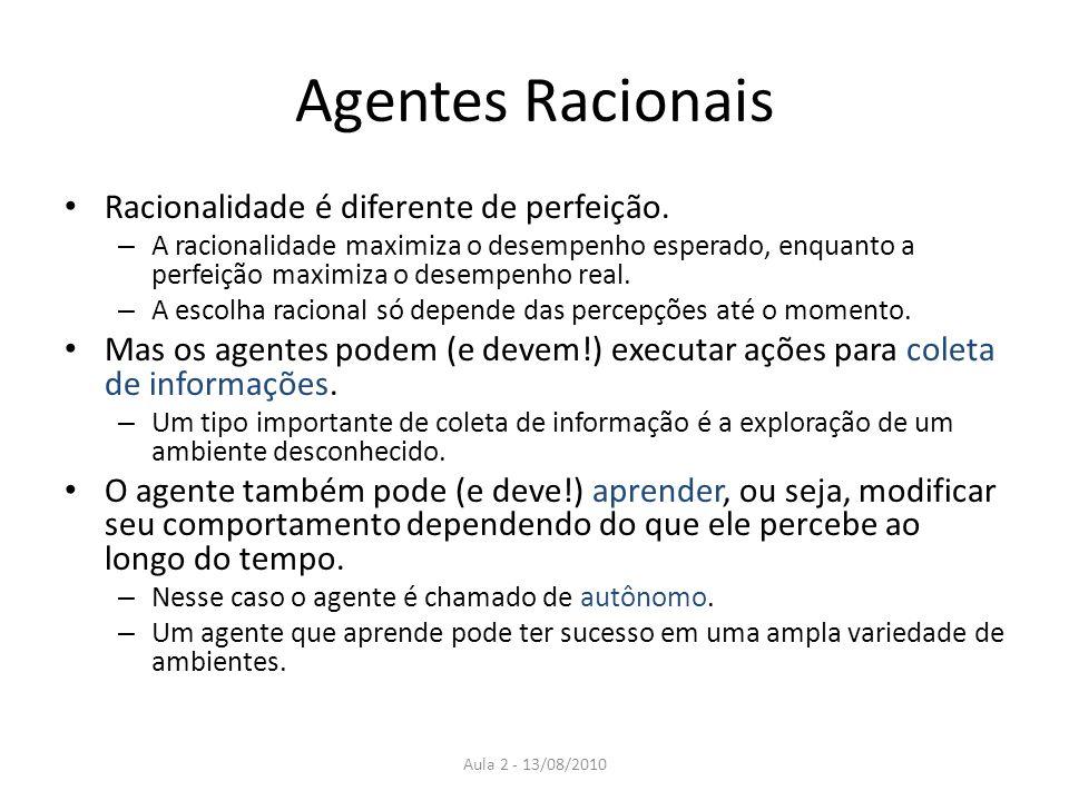 Agentes Racionais Racionalidade é diferente de perfeição. – A racionalidade maximiza o desempenho esperado, enquanto a perfeição maximiza o desempenho