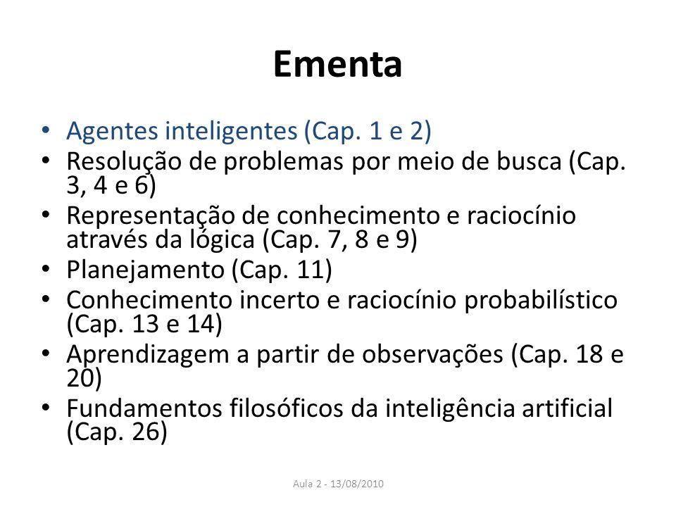 Ementa Agentes inteligentes (Cap. 1 e 2) Resolução de problemas por meio de busca (Cap. 3, 4 e 6) Representação de conhecimento e raciocínio através d