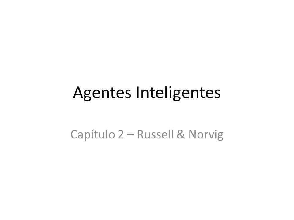 Agentes Um agente é algo capaz de perceber seu ambiente por meio de sensores e de agir sobre esse ambiente por meio de atuadores.