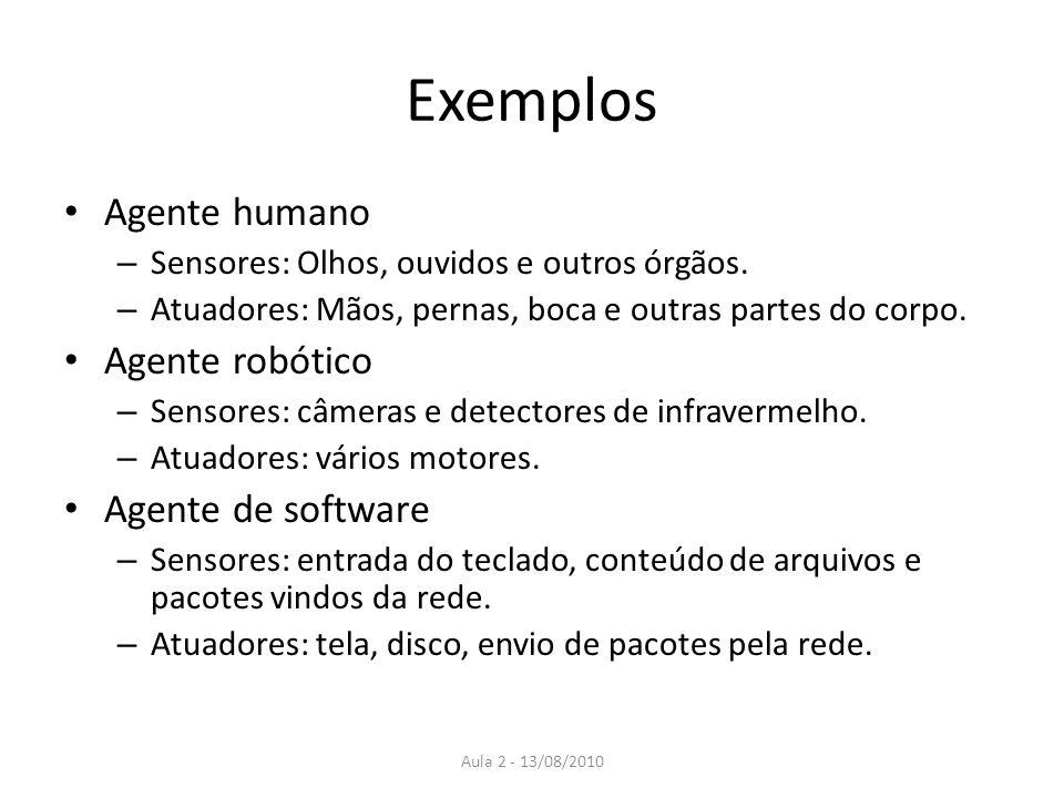 Exemplos Agente humano – Sensores: Olhos, ouvidos e outros órgãos. – Atuadores: Mãos, pernas, boca e outras partes do corpo. Agente robótico – Sensore