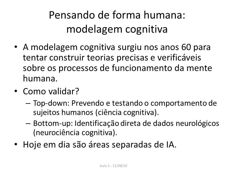 Aula 1 - 11/08/10 Pensando de forma humana: modelagem cognitiva A modelagem cognitiva surgiu nos anos 60 para tentar construir teorias precisas e verificáveis sobre os processos de funcionamento da mente humana.