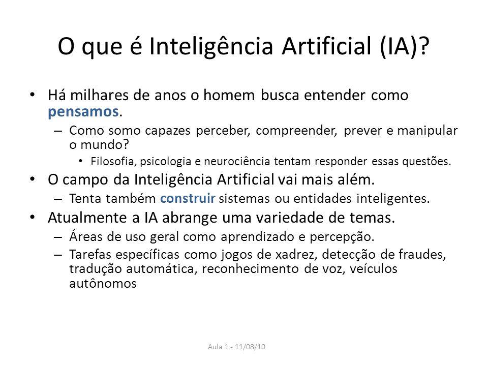 Aula 1 - 11/08/10 O que é Inteligência Artificial (IA)? Há milhares de anos o homem busca entender como pensamos. – Como somo capazes perceber, compre