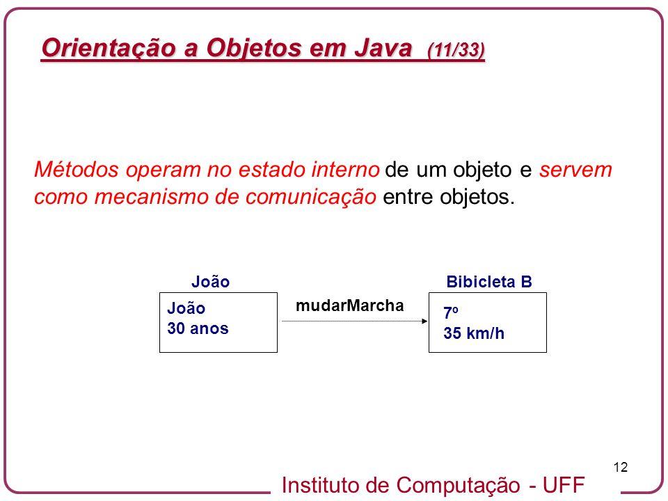 Instituto de Computação - UFF 12 Orientação a Objetos em Java (11/33) Bibicleta B 7º 35 km/h Métodos operam no estado interno de um objeto e servem co