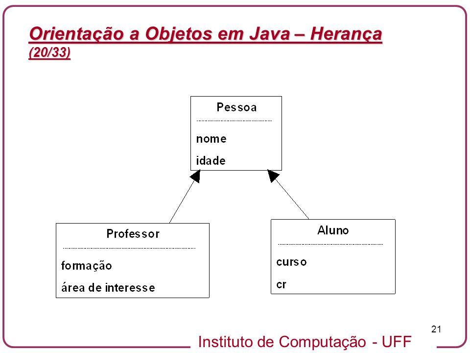 Instituto de Computação - UFF 21 Orientação a Objetos em Java – Herança (20/33)