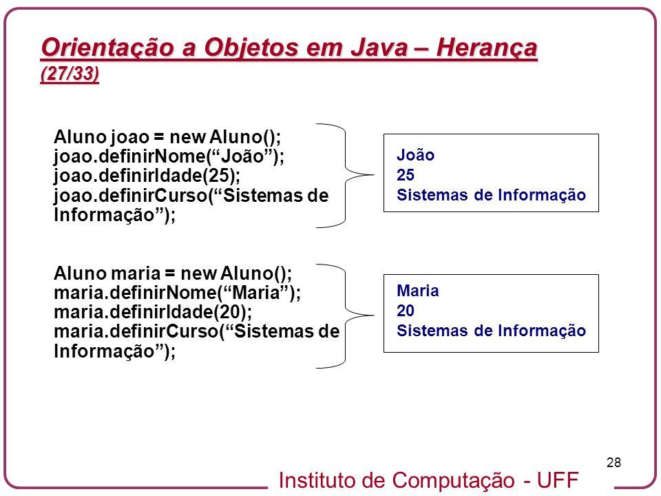 Instituto de Computação - UFF 28 Orientação a Objetos em Java – Herança (27/33) Aluno joao = new Aluno(); joao.definirNome(João); joao.definirIdade(25