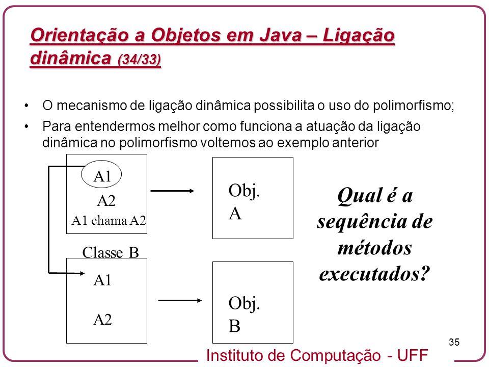 Instituto de Computação - UFF 35 Orientação a Objetos em Java – Ligação dinâmica (34/33) O mecanismo de ligação dinâmica possibilita o uso do polimorf