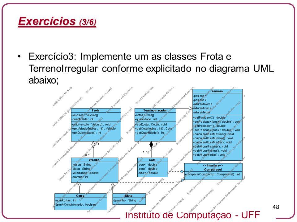 Instituto de Computação - UFF 48 Exercícios (3/6) Exercício3: Implemente um as classes Frota e TerrenoIrregular conforme explicitado no diagrama UML a