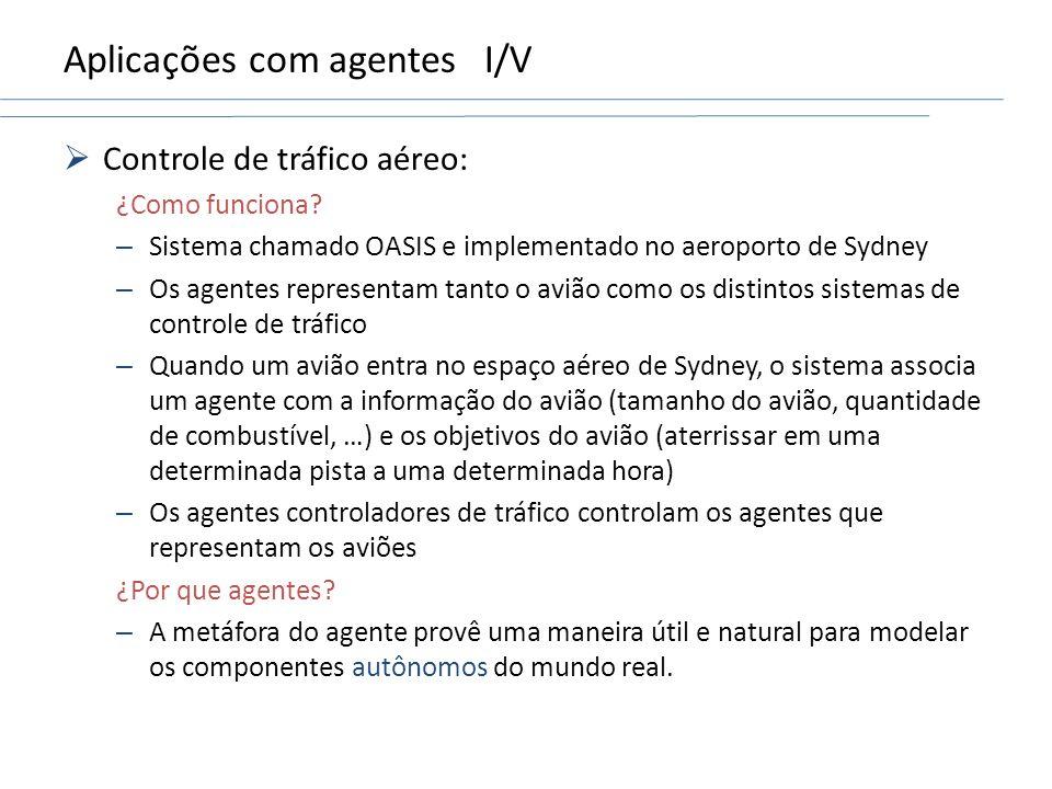 Aplicações com agentesI/V Controle de tráfico aéreo: ¿Como funciona? – Sistema chamado OASIS e implementado no aeroporto de Sydney – Os agentes repres