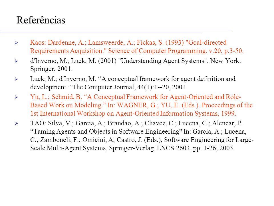 Referências Kaos: Dardenne, A.; Lamsweerde, A.; Fickas, S. (1993)