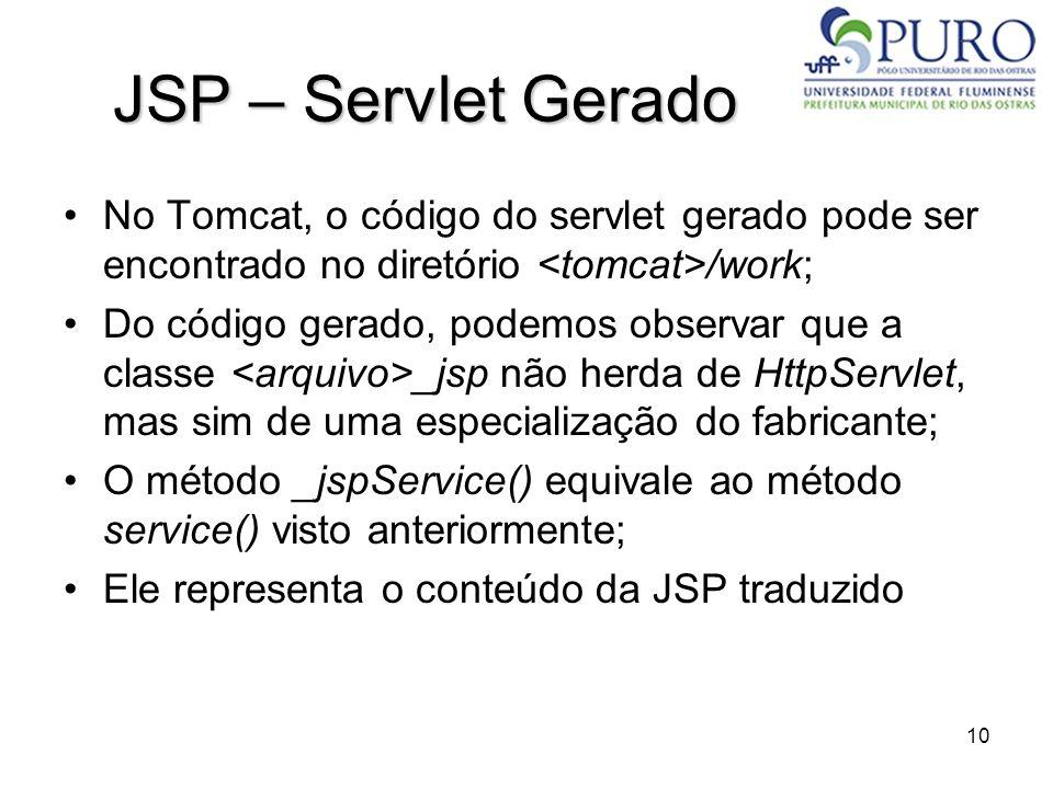 10 JSP – Servlet Gerado No Tomcat, o código do servlet gerado pode ser encontrado no diretório /work; Do código gerado, podemos observar que a classe