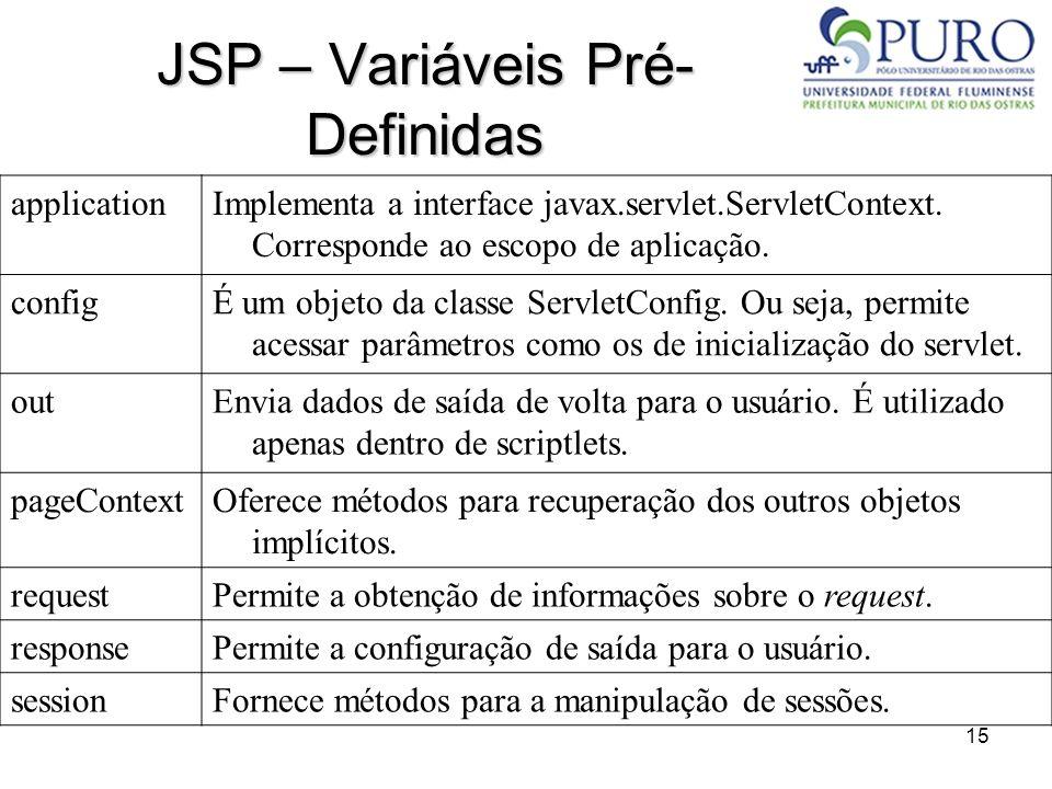 15 JSP – Variáveis Pré- Definidas applicationImplementa a interface javax.servlet.ServletContext. Corresponde ao escopo de aplicação. configÉ um objet