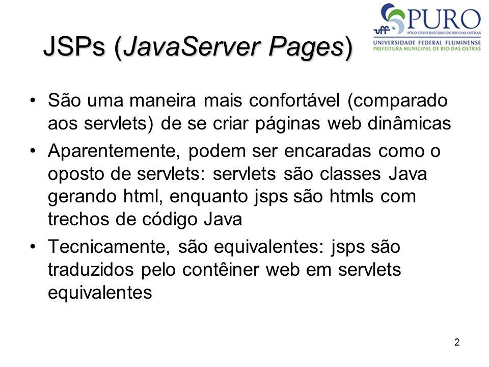 2 JSPs (JavaServer Pages) São uma maneira mais confortável (comparado aos servlets) de se criar páginas web dinâmicas Aparentemente, podem ser encarad