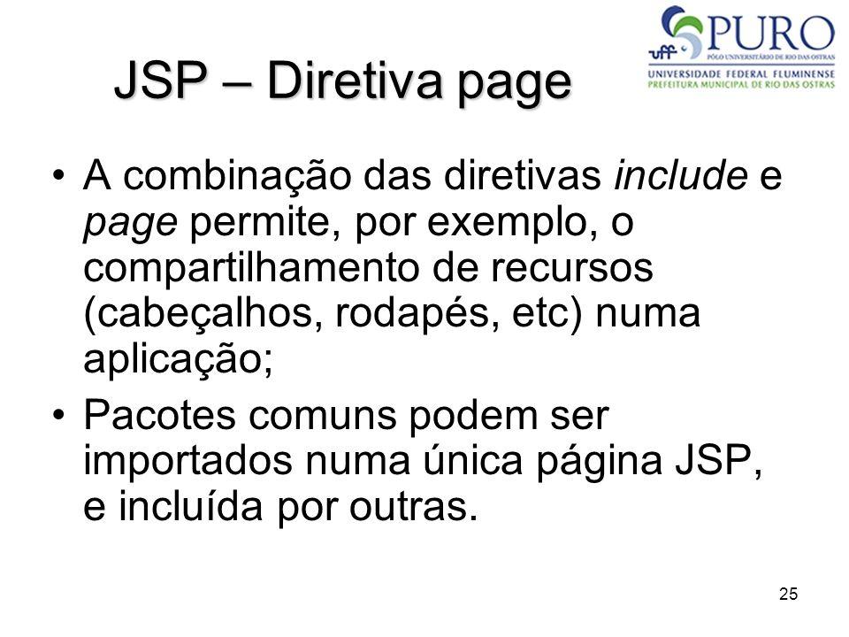 25 JSP – Diretiva page A combinação das diretivas include e page permite, por exemplo, o compartilhamento de recursos (cabeçalhos, rodapés, etc) numa
