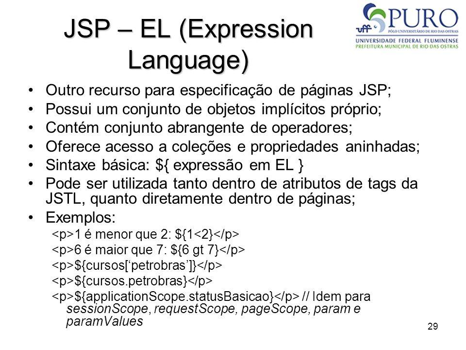 29 JSP – EL (Expression Language) Outro recurso para especificação de páginas JSP; Possui um conjunto de objetos implícitos próprio; Contém conjunto a