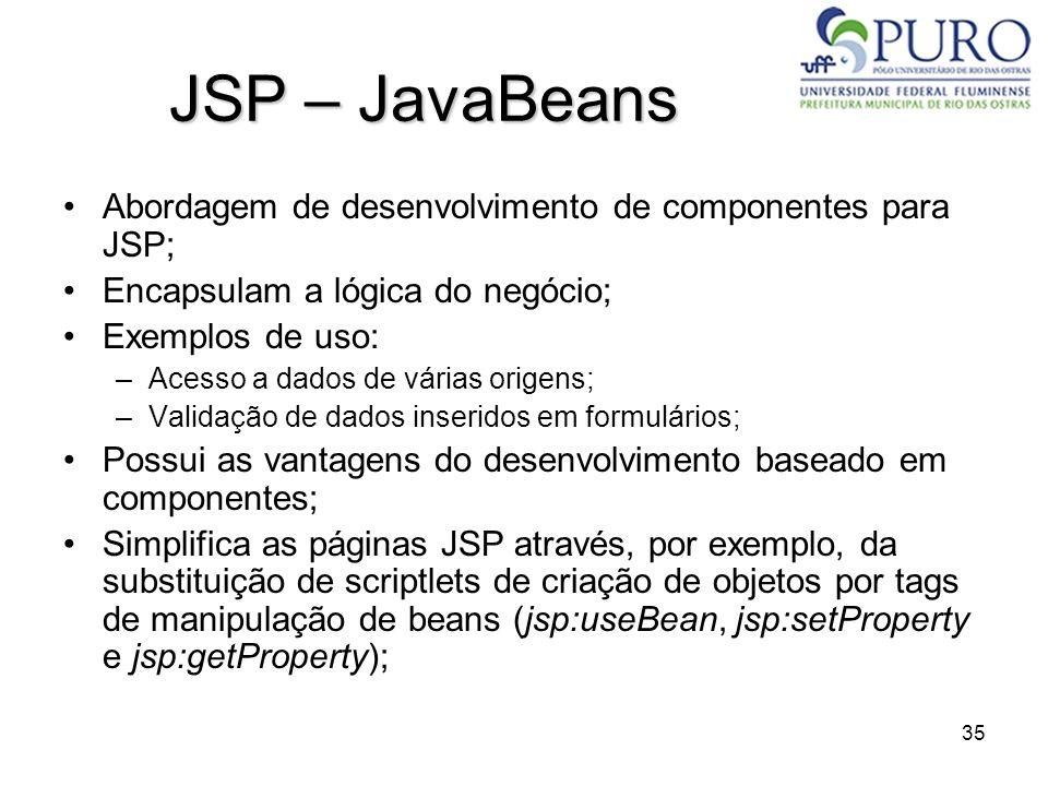 35 JSP – JavaBeans Abordagem de desenvolvimento de componentes para JSP; Encapsulam a lógica do negócio; Exemplos de uso: –Acesso a dados de várias or