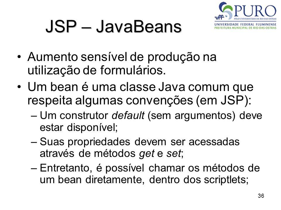 36 JSP – JavaBeans Aumento sensível de produção na utilização de formulários. Um bean é uma classe Java comum que respeita algumas convenções (em JSP)
