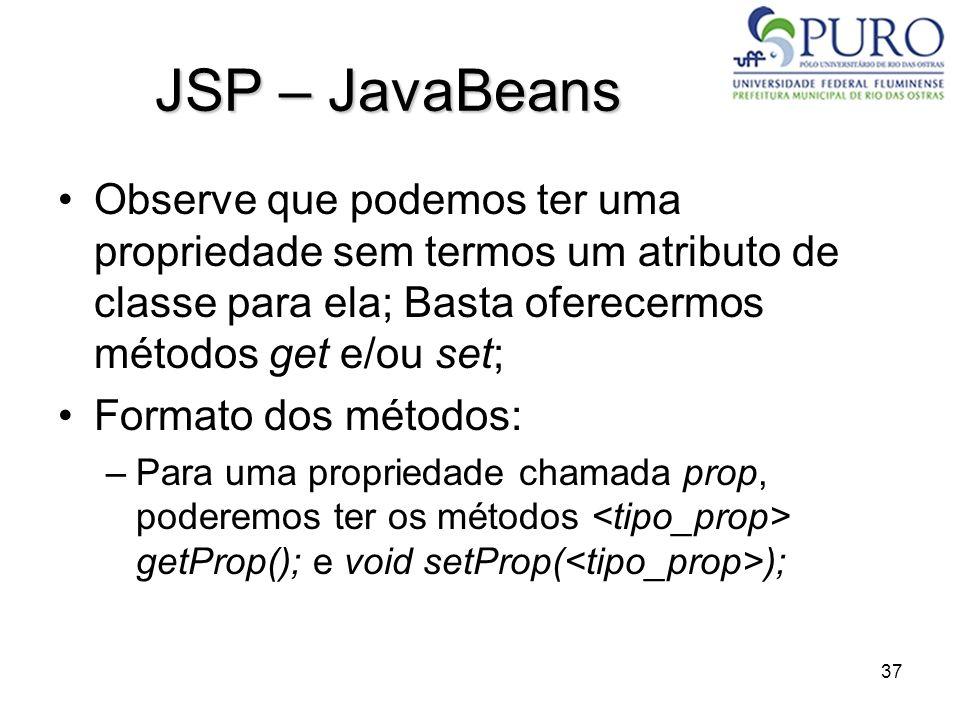 37 JSP – JavaBeans Observe que podemos ter uma propriedade sem termos um atributo de classe para ela; Basta oferecermos métodos get e/ou set; Formato