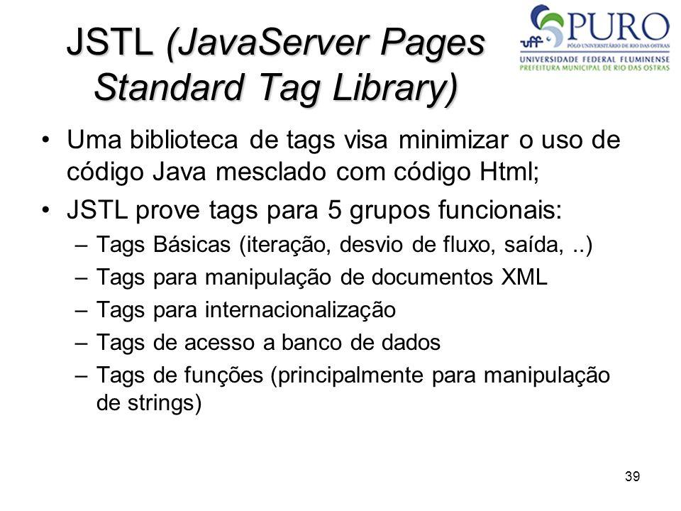 39 JSTL (JavaServer Pages Standard Tag Library) Uma biblioteca de tags visa minimizar o uso de código Java mesclado com código Html; JSTL prove tags p
