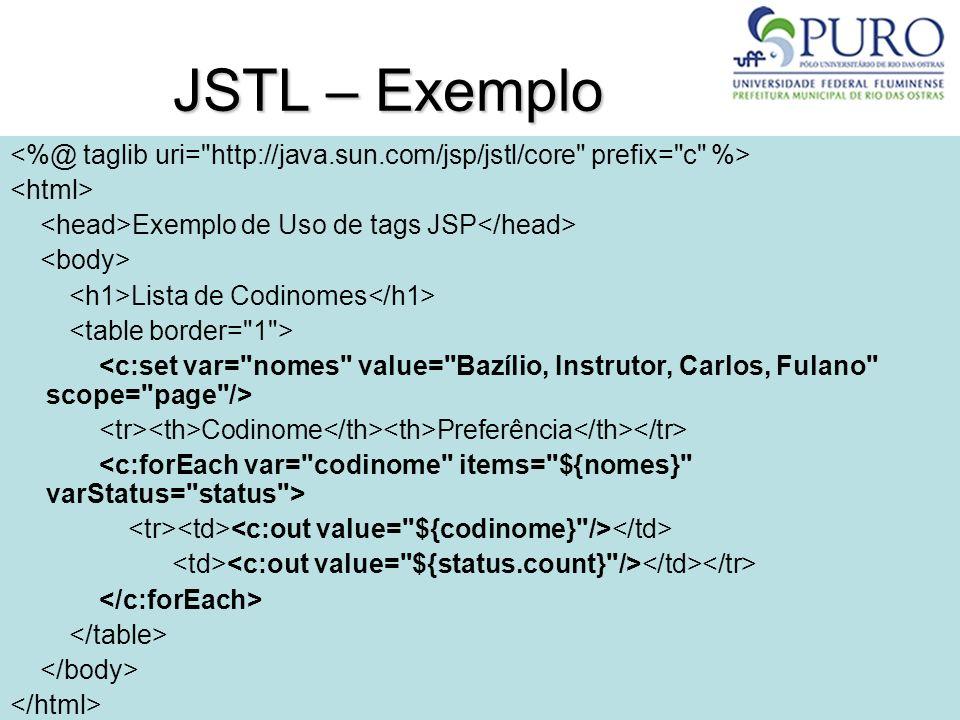 41 JSTL – Exemplo Exemplo de Uso de tags JSP Lista de Codinomes Codinome Preferência
