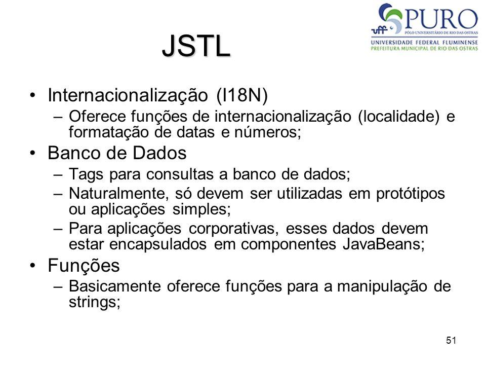 51 JSTL Internacionalização (I18N) –Oferece funções de internacionalização (localidade) e formatação de datas e números; Banco de Dados –Tags para con