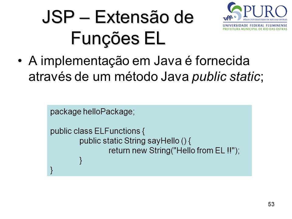 53 JSP – Extensão de Funções EL A implementação em Java é fornecida através de um método Java public static; package helloPackage; public class ELFunc